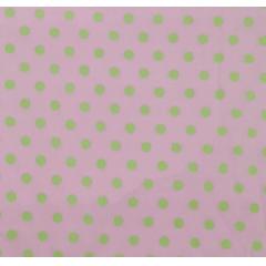 Tecido Tricoline  Rosa Bebê Poá Grande Verde
