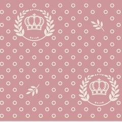 Tecido Tricoline Rosa Chá Escuro Coroas e Ramos