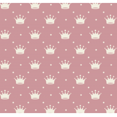 Tecido Tricoline Rosa Chá Escuro Poá e Coroas