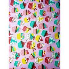 Tecido Tricoline Rosa Claro Cupcake