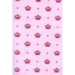 Tecido Tricoline Rosa Coroas Pink