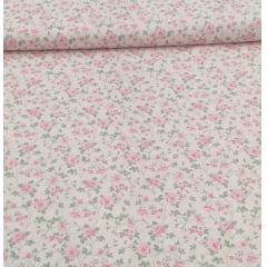 Tecido Tricoline  Rosa Floral Ramos Ref : 6323