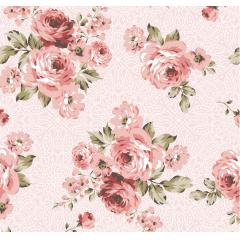 Tecido Tricoline Rosa Floral Rosa