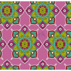 Tecido Tricoline Rosa Mandala