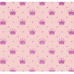 Tecido Tricoline Rosa Poá e Coroas Metálica