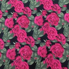 Tecido Tricoline Rosas Pink