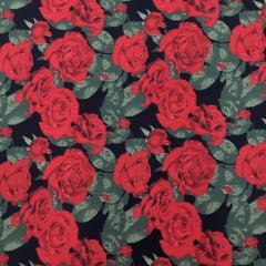 Tecido Tricoline Rosas Vermelhas