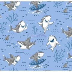 Tecido Tricoline Shark Azul com Cinza