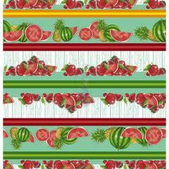 Tecido Tricoline Tiffany Barrado de Frutas
