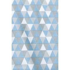 Tecido Tricoline Triângulos Azul Bebê com Cinza
