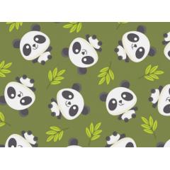Tecido Tricoline Verde Panda Bambu