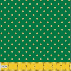 Tecido Tricoline Verde Poá Pequeno Dourado