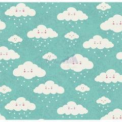 Tecido Tricoline Verde Tifany Nuvem