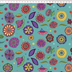 Tecido Tricoline Verde Tiffany Floral Digital Marina Landi & Valeria Cervetto