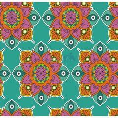 Tecido Tricoline  Verde Tiffany Mandala