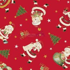 Tecido Tricoline Vermelho Natal