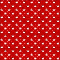 Tecido Tricoline Vermelho Poá e Coroas Branca