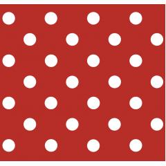 Tecido Tricoline Vermelho Poá Grande Branco