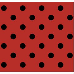Tecido Tricoline Vermelho  Poá Medio Preto