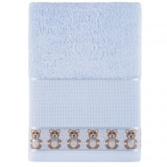 Toalha Lavabo Baby Teddy  Azul  para Bordar  Karsten